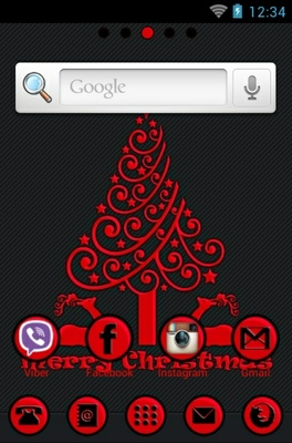 Red Christmas android theme home screen