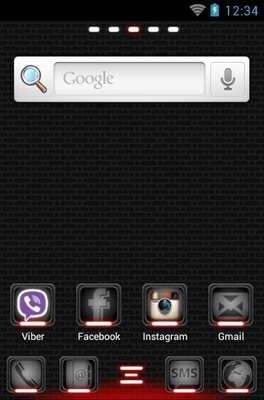 Toxic Red android theme home screen