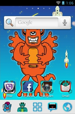 Monsters android theme home screen