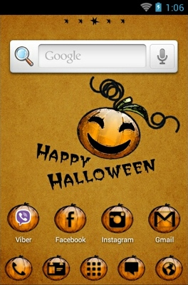Halloween Pumpkin android theme home screen
