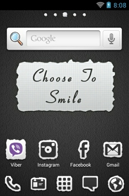 Smile android theme home screen