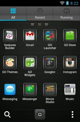 Matte Finish android theme application menu