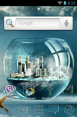 Fish Bowl City android theme home screen