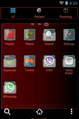 Fiery Flower android theme application menu