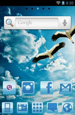 Blue Nature android theme home screen
