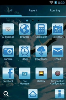 Blue Nature android theme application menu