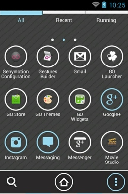 Cassandra Icy Blue android theme application menu