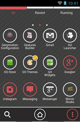 Cassandra Dark android theme application menu