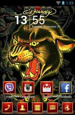 Ed Hardy android theme home screen