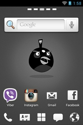 Angry Birds Black android theme home screen