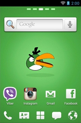 Angry Birds Green android theme home screen