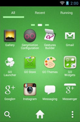 Angry Birds Green android theme application menu