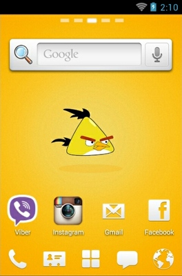 Angry Birds Yellow android theme home screen