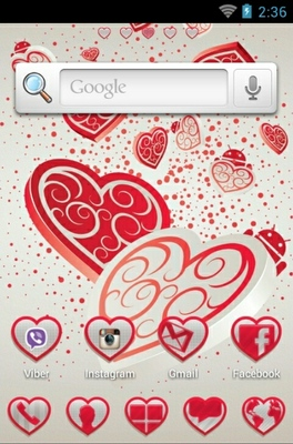 Falling Hearts android theme home screen