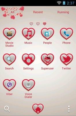 Falling Hearts android theme application menu