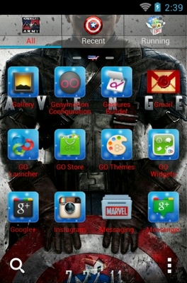 Captain America android theme application menu