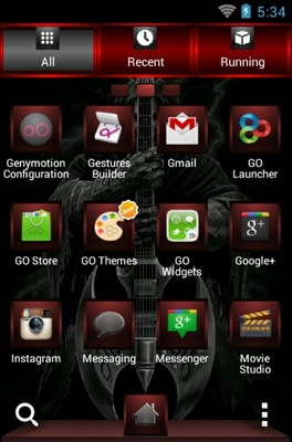 Rock God android theme application menu
