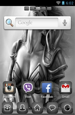 Warrior Goddess android theme home screen