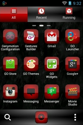 Red Sensation android theme application menu