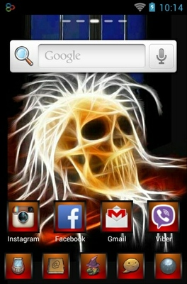 Neon Skull android theme home screen
