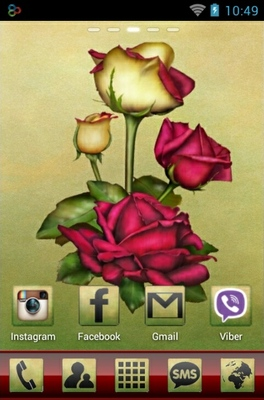 Lovely Roses android theme home screen