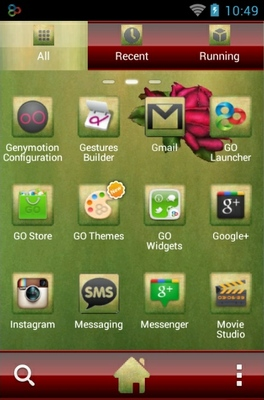 Lovely Roses android theme application menu