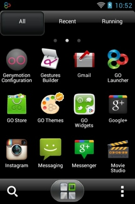 Sensation android theme application menu
