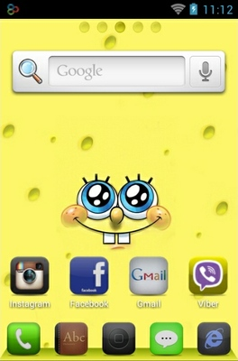 SpongeBob android theme home screen