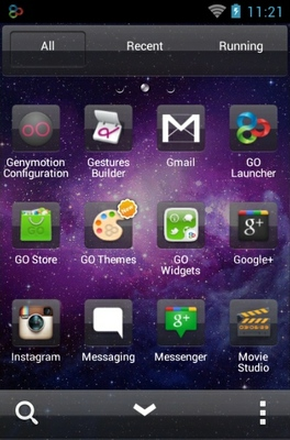 Transparent Space android theme application menu