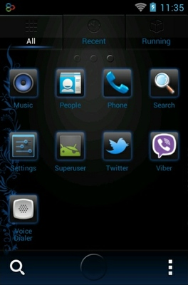 Neon Beauty android theme application menu