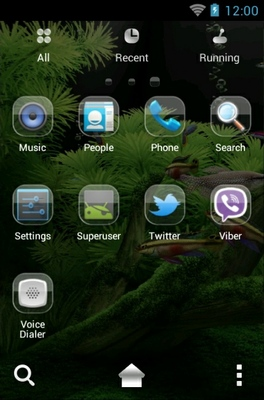 Underwater World android theme application menu