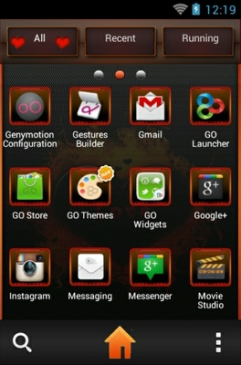 Love On Fire android theme application menu
