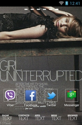 Miley Cyrus android theme home screen