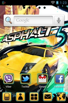 Asphalt 5 android theme home screen