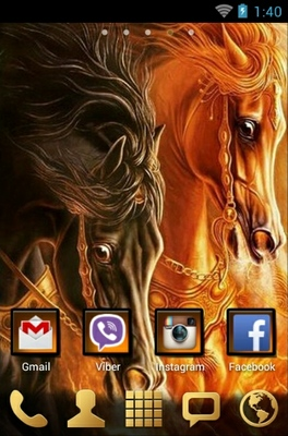 Horses android theme home screen
