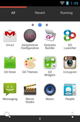 Google android theme application menu