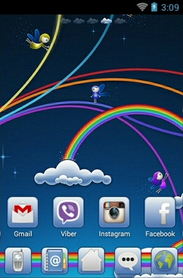 Rainbowz android theme home screen
