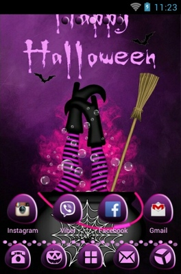 Purple Halloween android theme home screen