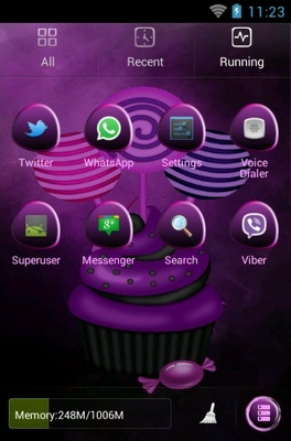 Purple Halloween android theme application menu