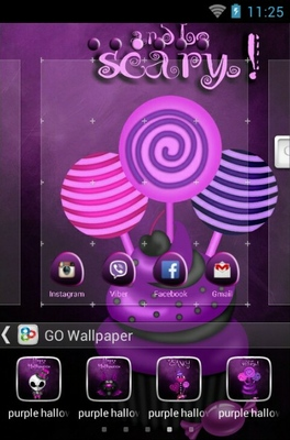 Purple Halloween android theme wallpaper