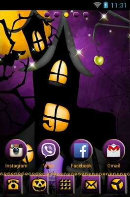 Purple Skies Halloween android theme home screen