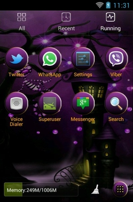 Purple Skies Halloween android theme application menu