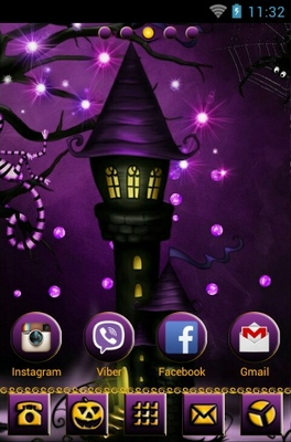 Purple Skies Halloween android theme wallpaper