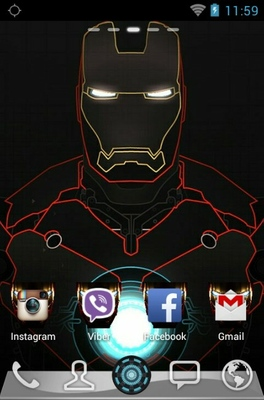 Iron Man android theme home screen