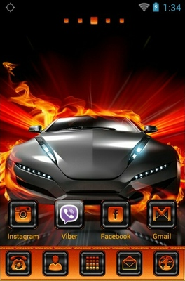 Fire Car android theme home screen