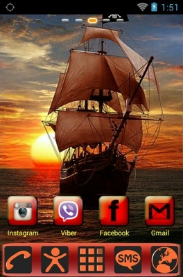Pirate Ship android theme home screen