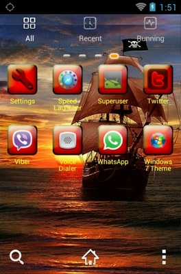 Pirate Ship android theme application menu