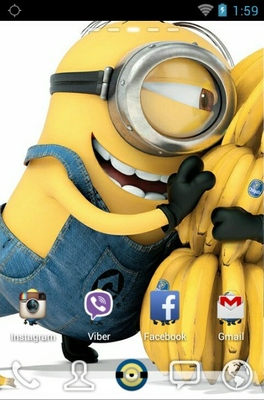 Delightful Minions android theme home screen