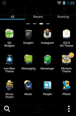 Delightful Minions android theme application menu