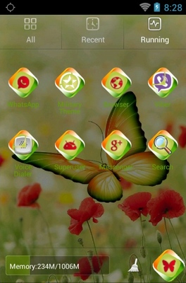 Beautiful Butterfly android theme application menu